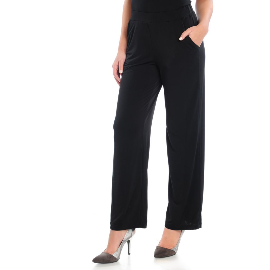 715-362 - Kate & Mallory Stretch Knit Wide Leg Two-Pocket Pull-on Pants