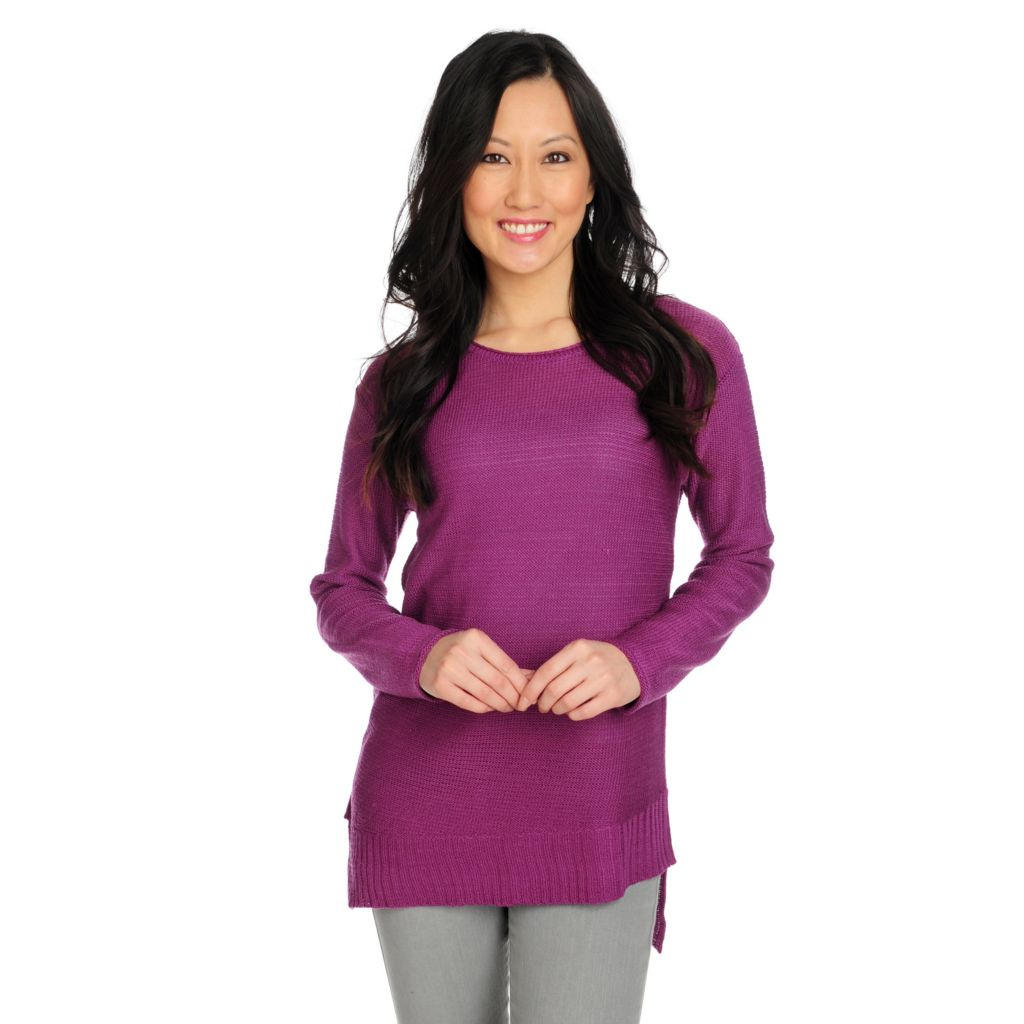 715-365 - Kate & Mallory Sweater Knit Long Sleeved Asymmetrical Hem Top