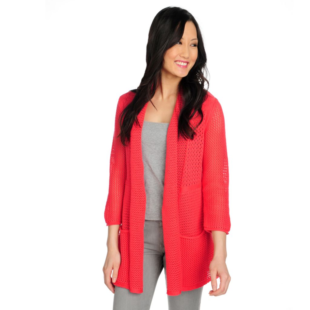 715-367 - Kate & Mallory Chunky Knit 3/4 Sleeved Pleated Back Open Cardigan