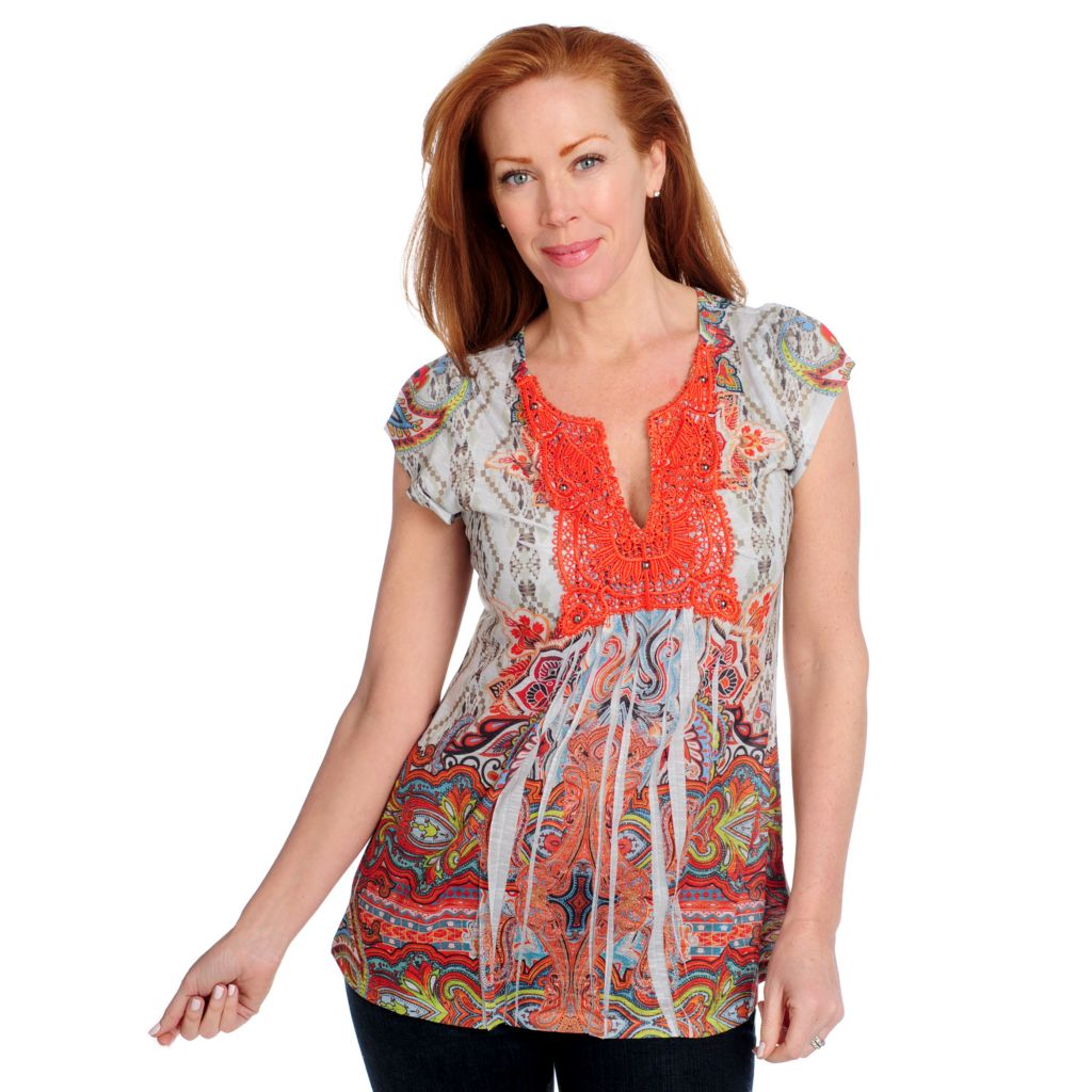 715-370 - One World Stretch Knit Flutter Sleeved Lace Applique Printed Top