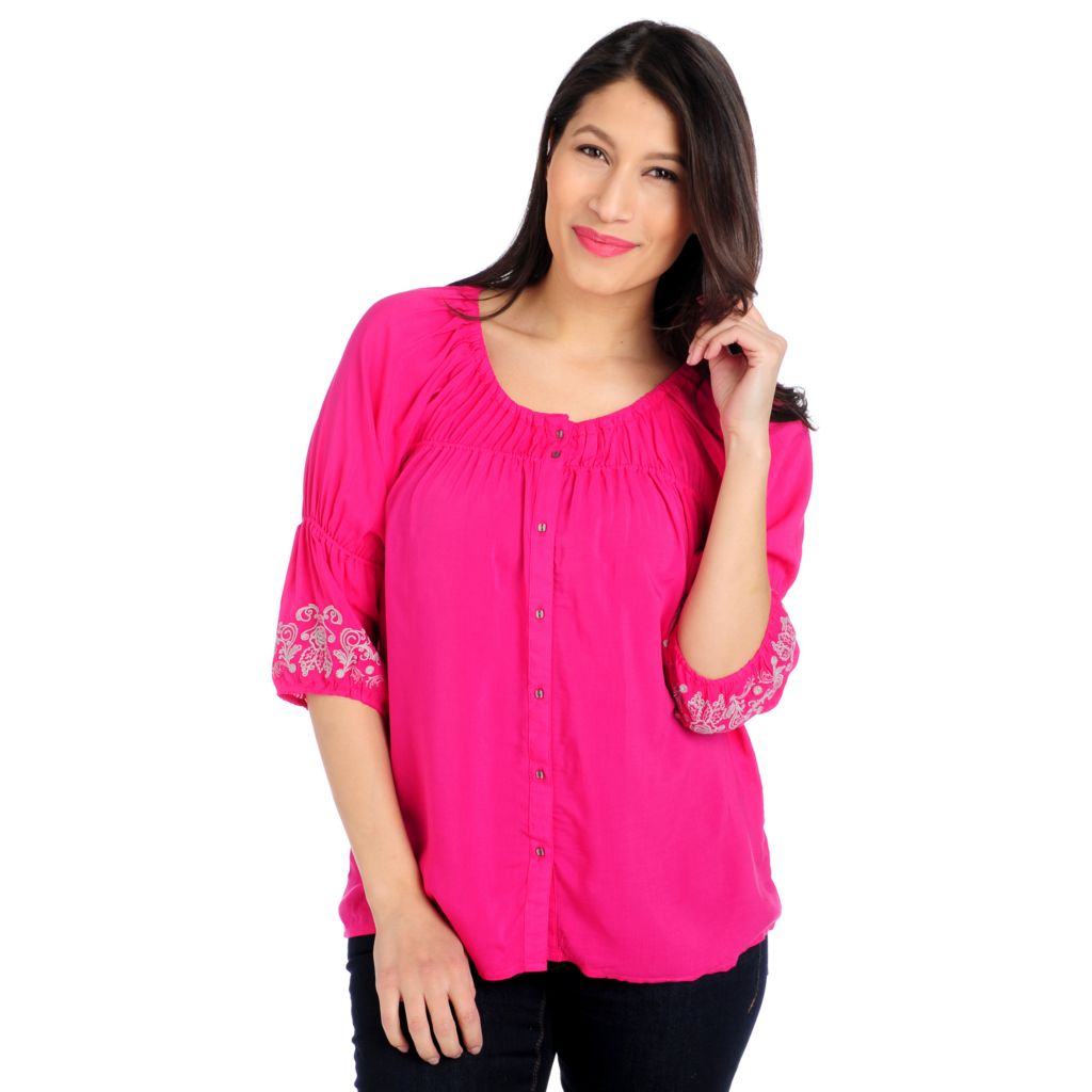 715-377 - One World Challis Raglan Sleeved Embroidered Detail Peasant Top