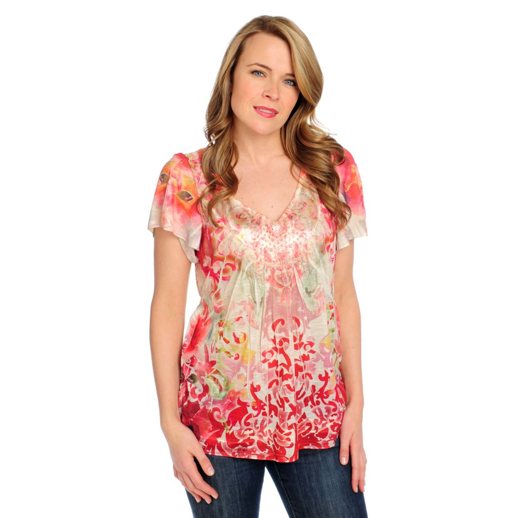 715-379 - One World Stretch Knit Satin Combo Flutter Sleeved Embellished Top