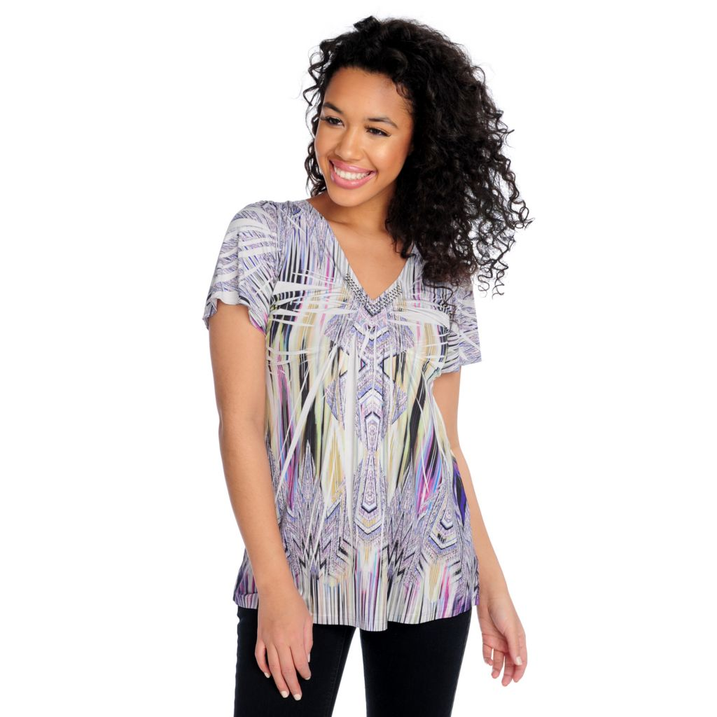 715-383 - One World Micro Jersey Flutter Sleeved Embellished V-Neck Top