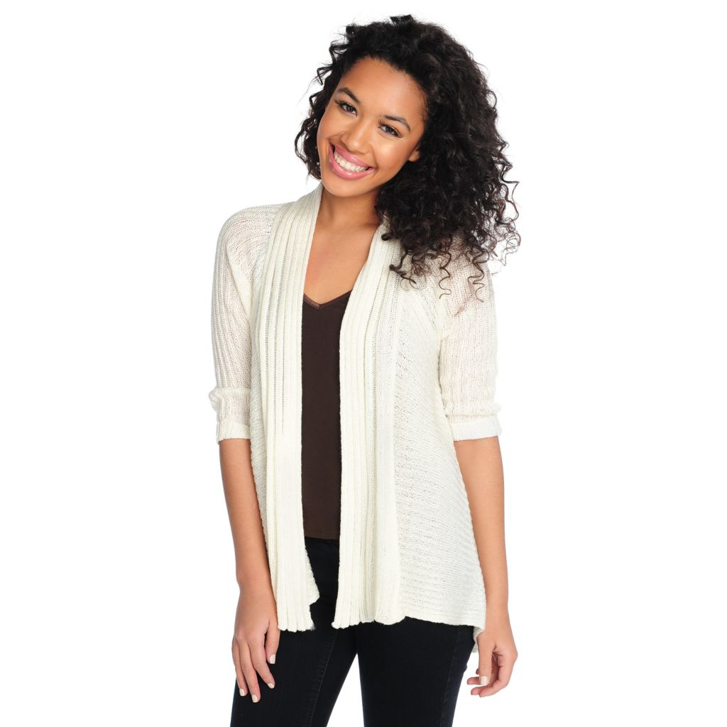 715-388 - One World Ribbed Knit 3/4 Sleeved Crochet Back Cardigan Sweater