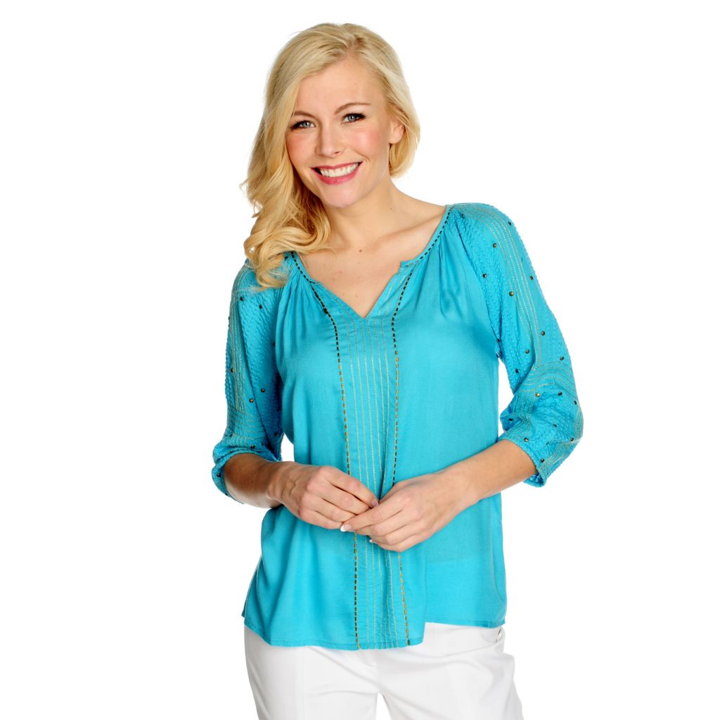 715-390 - One World Challis Raglan Sleeved Embellished Peasant Top
