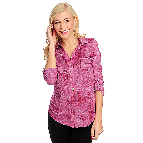 715-394 - One World Stretch Knit Roll Tab Sleeved Two-Pocket Button Front Shirt