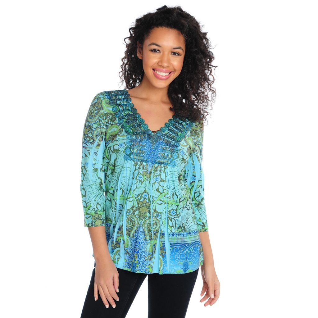 715-398 - One World Printed Knit 3/4 Sleeved Lace Neckline Embellished Top