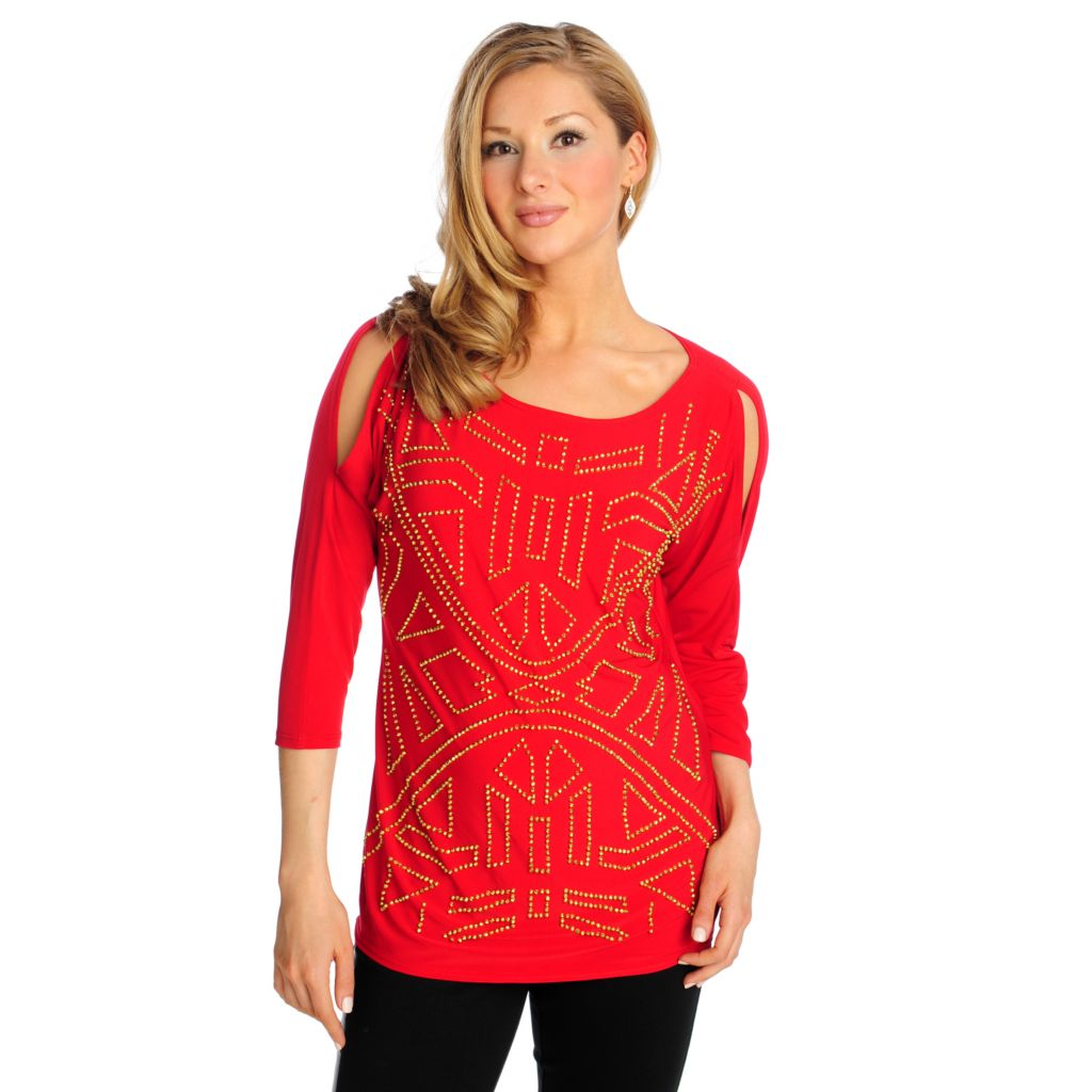 715-403 - Love, Carson by Carson Kressley Stretch Knit Cold Shoulder Embellished Tunic