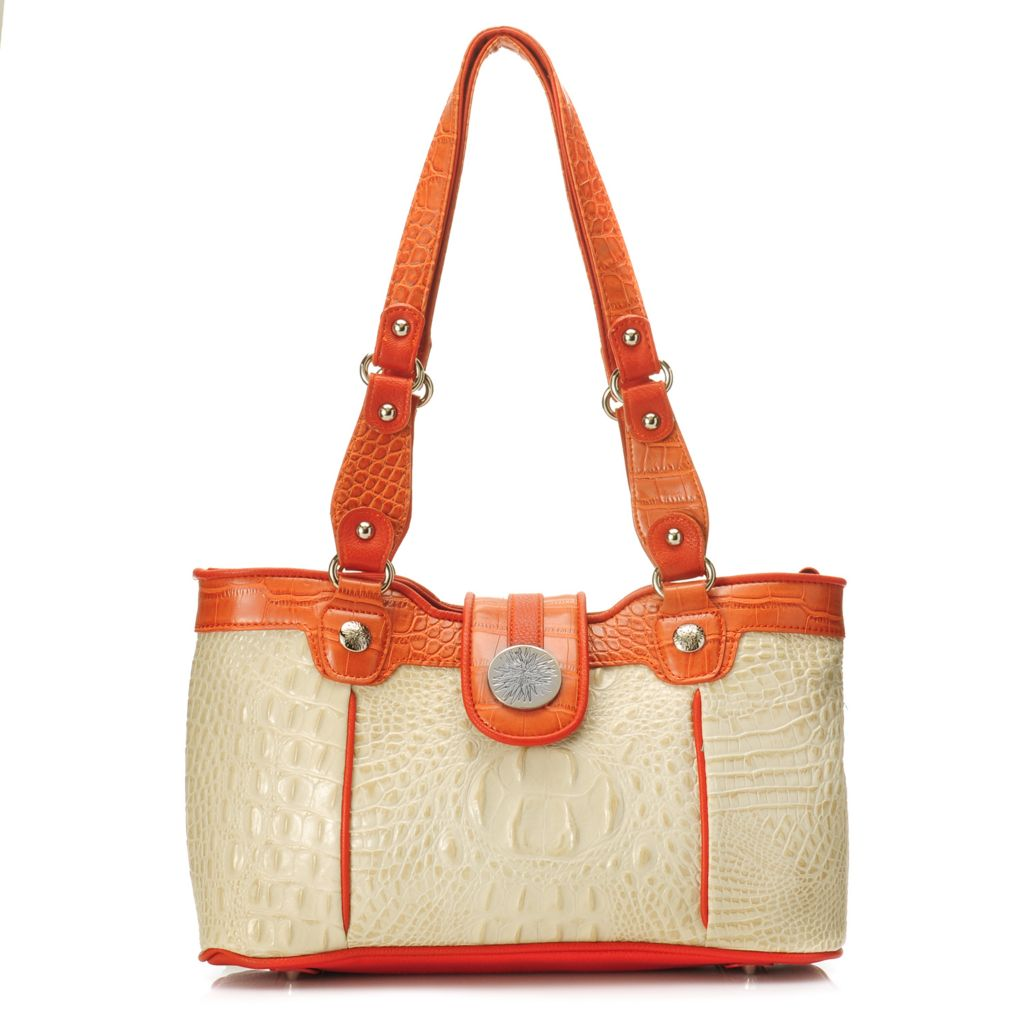 715-413 - Madi Claire Croco Embossed Leather Double Handle Floral Medallion Satchel