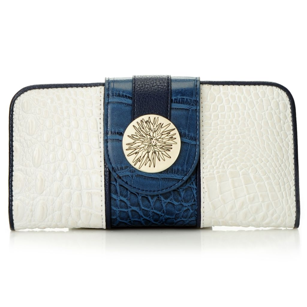 715-414 - Madi Claire Croco Embossed Leather Floral Medallion Two-tone Wallet