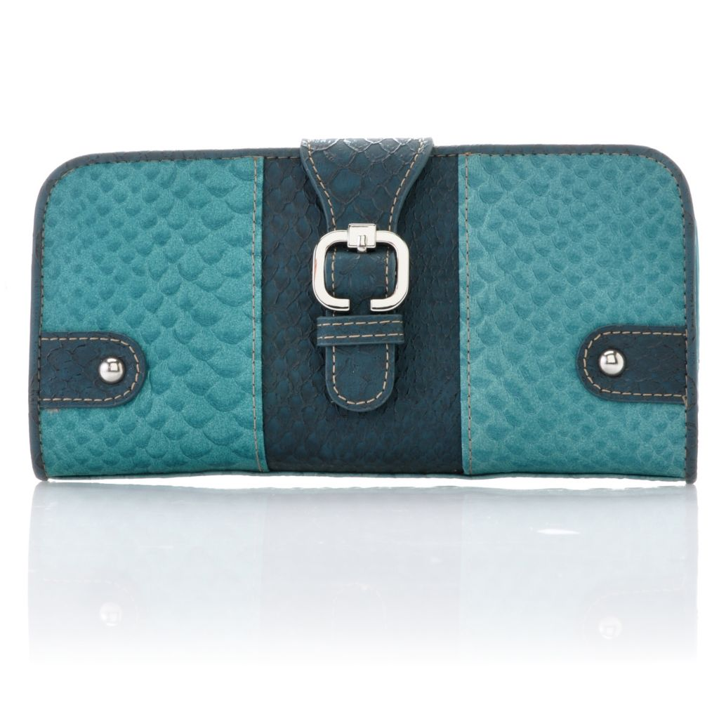 715-415 - Madi Claire Reptile Embossed Leather Flap Over Buckle Detailed Wallet