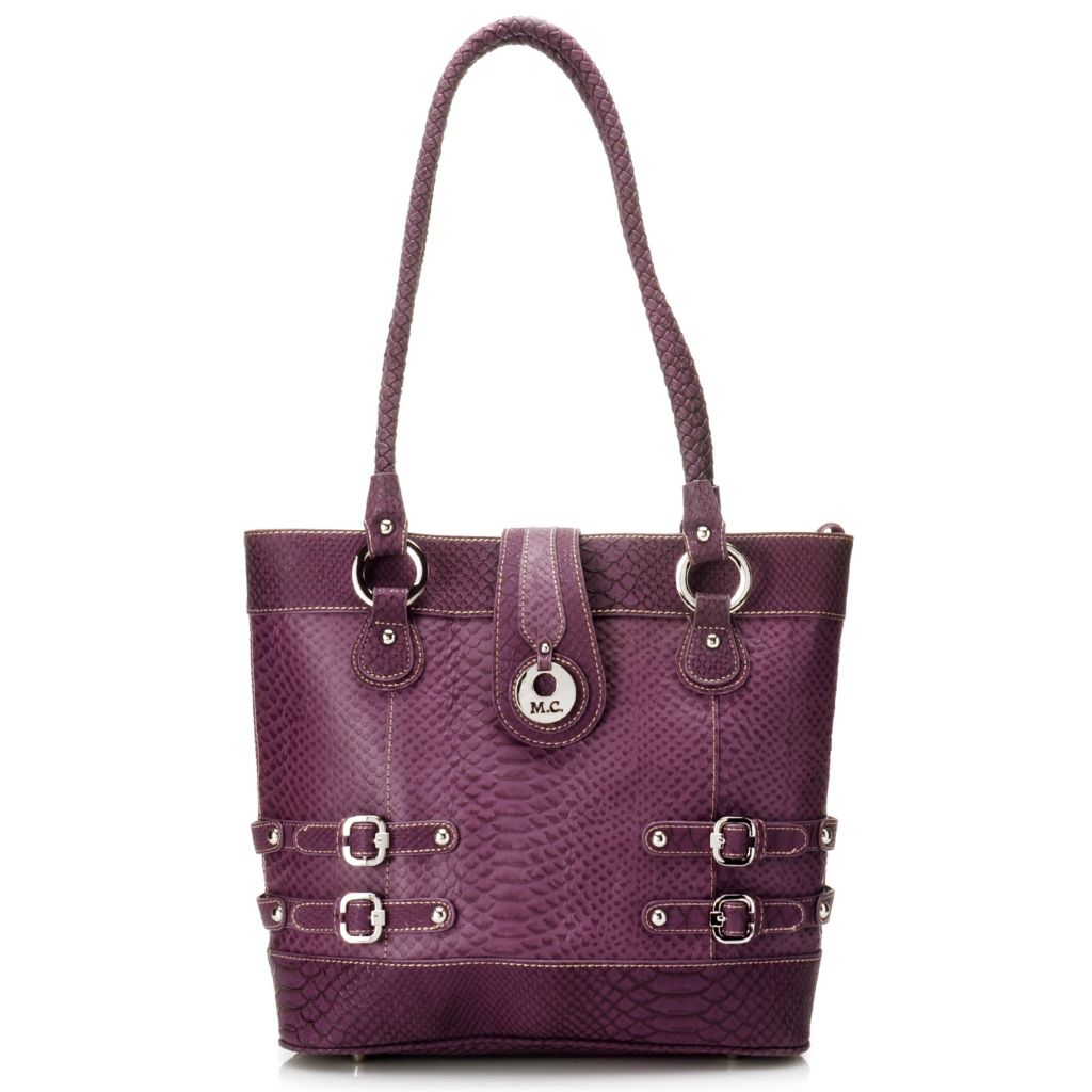 715-416 - Madi Claire Snake Embossed Leather Double Woven Handle Zip Top Tote Bag