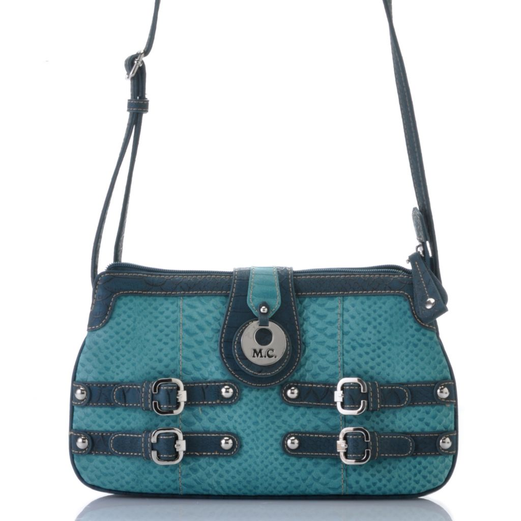 715-417 - Madi Claire Snake Embossed Leather Buckle Detailed Multi Compartment Cross Body Bag
