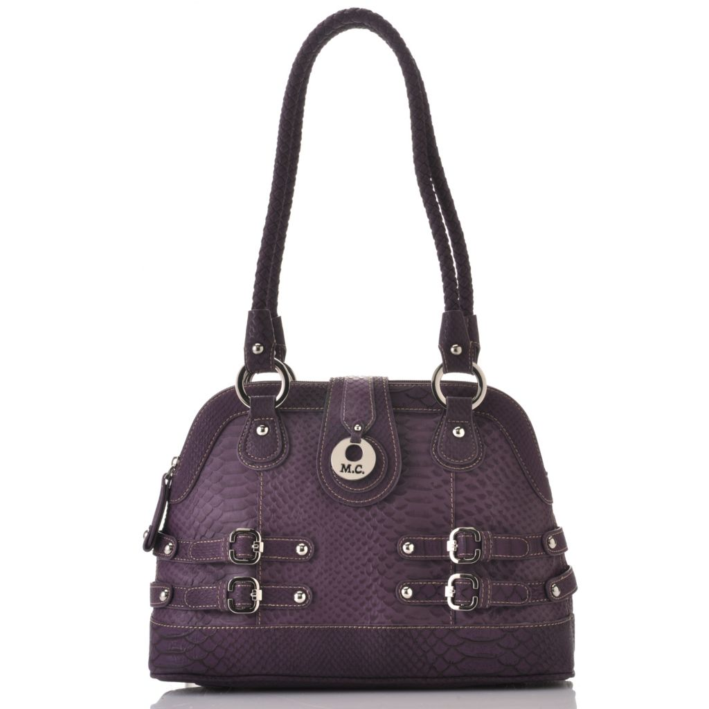 715-418 - Madi Claire Snake Embossed Leather Double Woven Handle Zip Around Dome Satchel