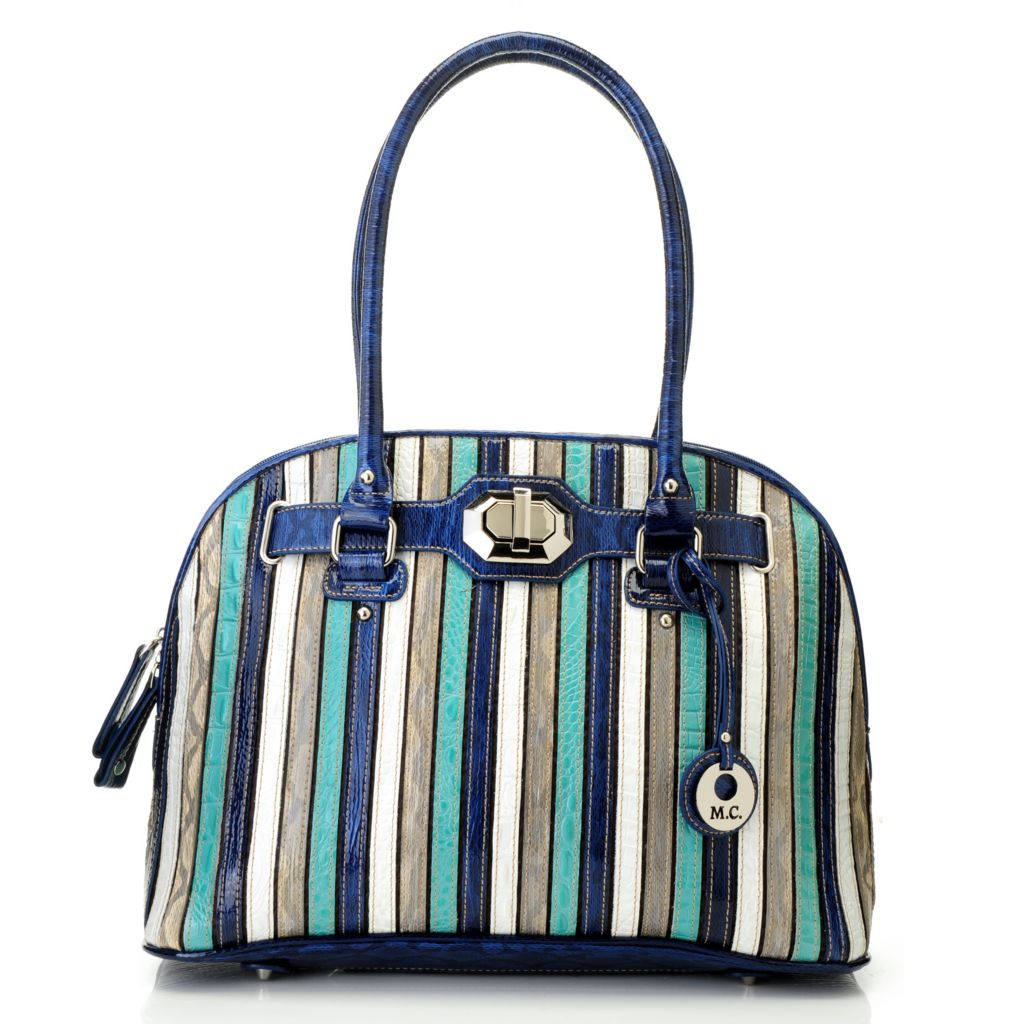 715-419 - Madi Claire Embossed Leather Multi Color Stripe Double Handle Dome Satchel