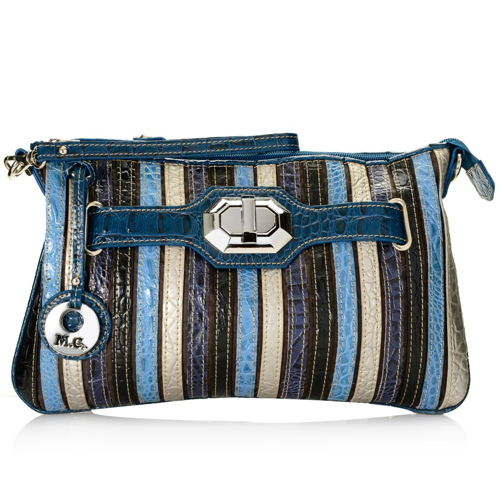 715-420 - Madi Claire Embossed Leather Multi Color Stripe Convertible Clutch or Cross Body Bag