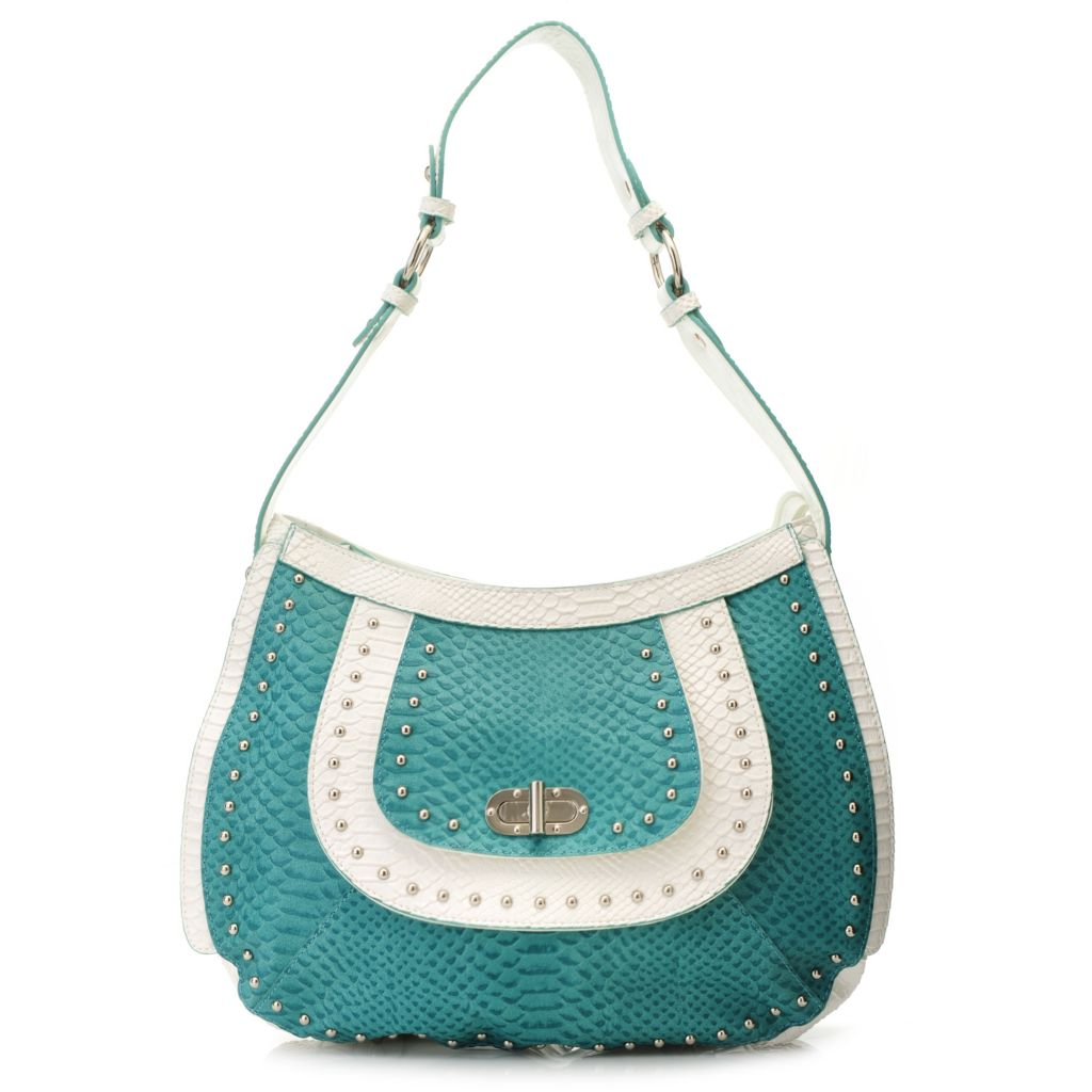 715-421 - Madi Claire Snake Embossed Leather Zip Top Layered & Studded Hobo Handbag