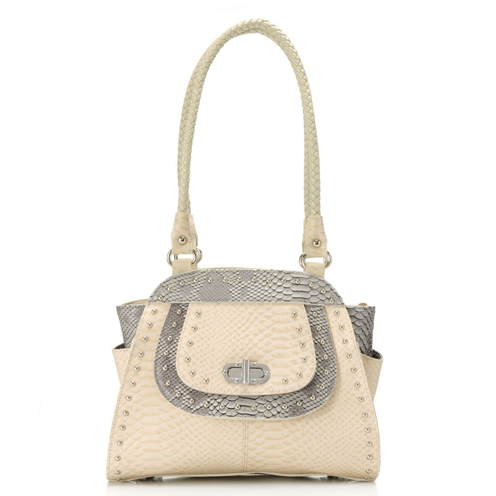 715-422 - Madi Claire Snake Embossed Leather Zip Top Double Handle Turn Lock Satchel
