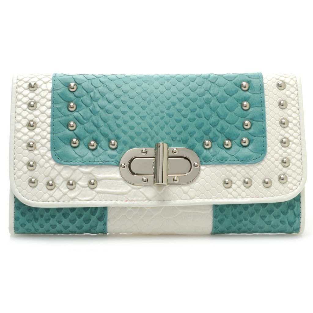 715-424 - Madi Claire Snake Embossed Leather Turn Lock Tri-Fold Wallet