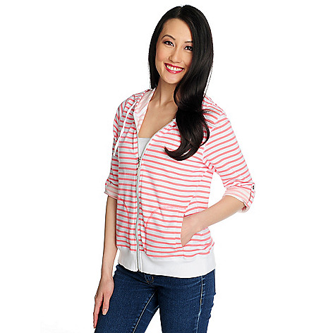 715-426 - OSO Casuals™ French Terry Roll Tab Sleeved Striped Zip Front Hoodie