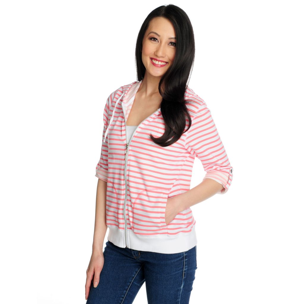 715-426 - OSO Casuals French Terry Roll Tab Sleeved Striped Zip Front Hoodie