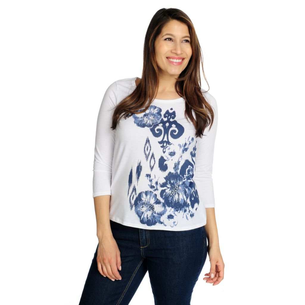 715-427 - OSO Casuals Stretch Knit 3/4 Sleeved Rhinestone Detail Floral Tee