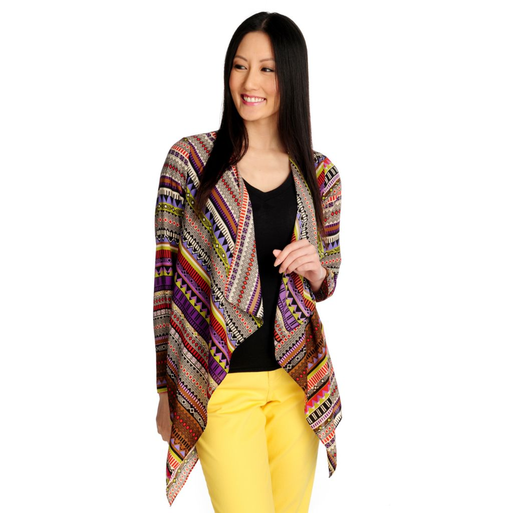 715-433 - Kate & Mallory Chiffon Long Sleeved Cascade Front Open Cardigan