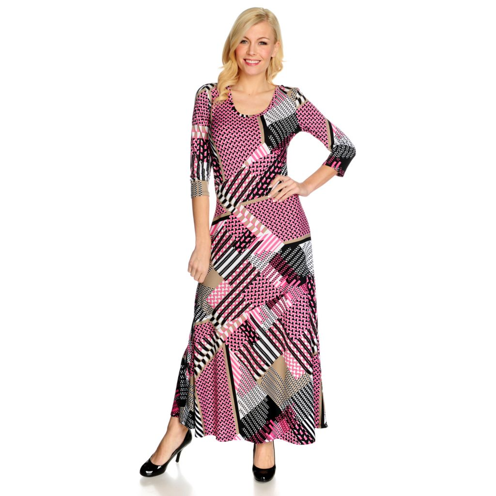 715-434 - Kate & Mallory Stretch Knit 3/4 Sleeved Scoop Neck Printed Maxi Dress