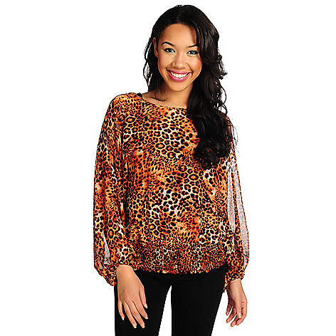 715-435 - Kate & Mallory® Printed Chiffon Blouson Sleeved Elastic Waist Sheer Top