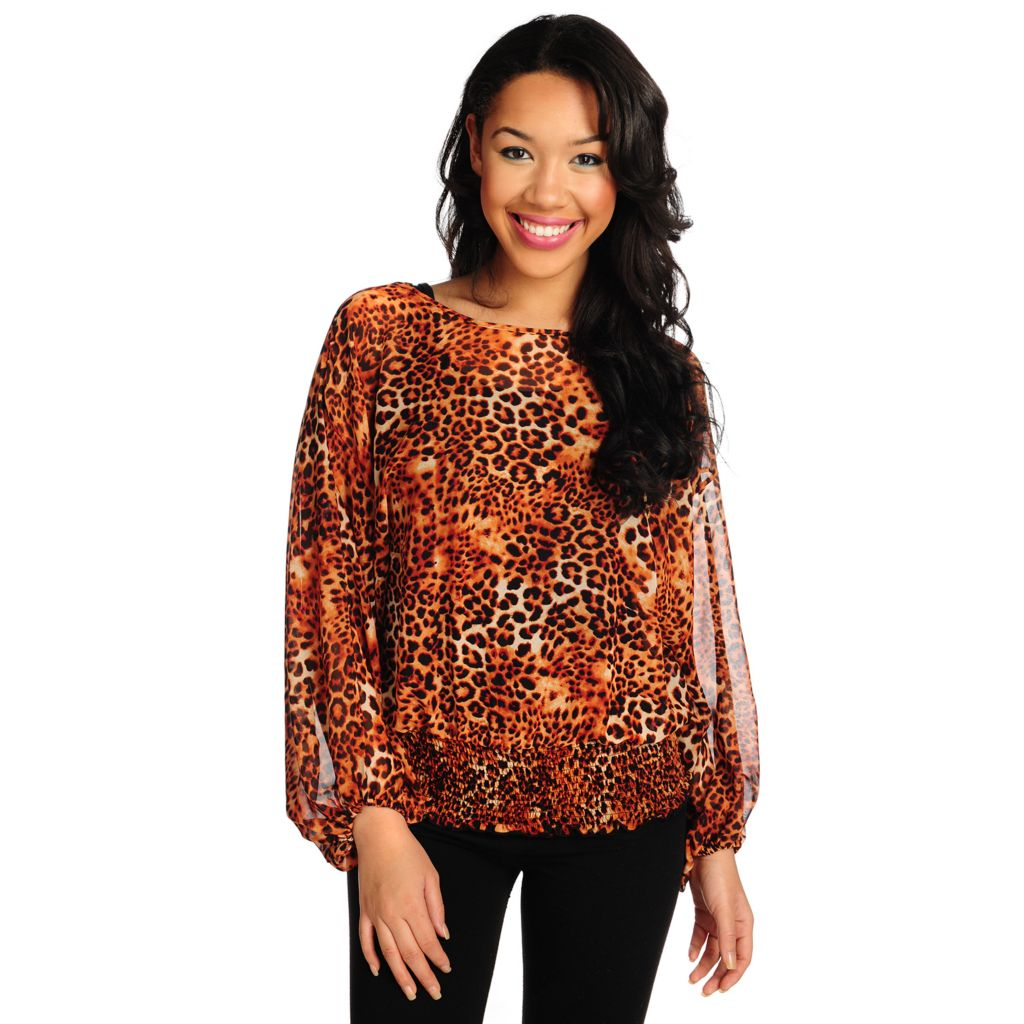 715-435 - Kate & Mallory Printed Chiffon Blouson Sleeved Elastic Waist Sheer Top