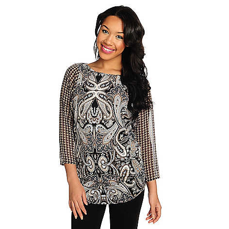 715-437 - Kate & Mallory Stretch Knit Chiffon Sleeve Ruched Side Printed Tunic