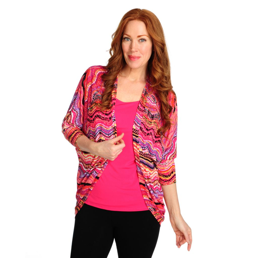 715-440 - Kate & Mallory Stretch Knit Raglan Sleeved Cocoon Cardigan w/ Tank Top