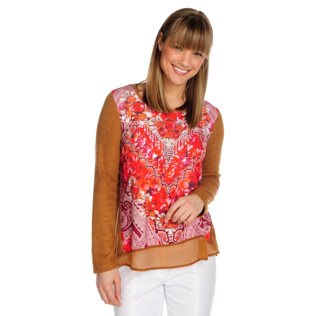 715-445 - One World Sweater Knit Mixed Media Long Sleeved Embellished Top