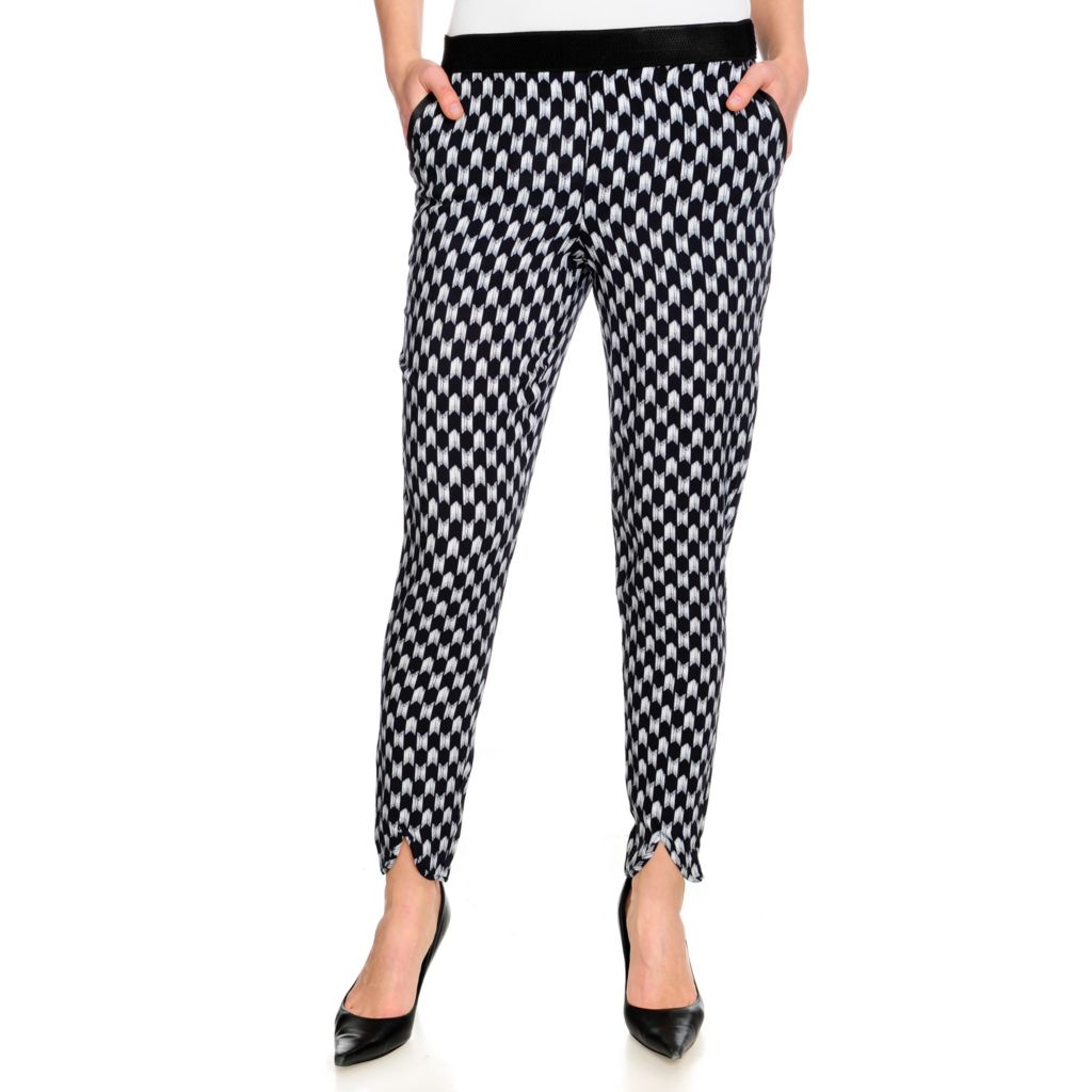 715-451 - WD.NY Printed Woven Elastic Waistband Two-Pocket Pull-on Pants