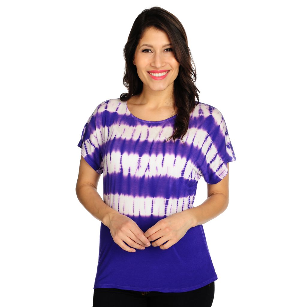 715-452 - WD.NY Stretch Knit Dolman Sleeved Boat Neck Tie-dyed Shirt