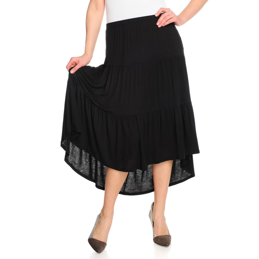 715-455 - WD.NY Stretch Knit Elastic Waist Pieced Hi-Lo Maxi Skirt