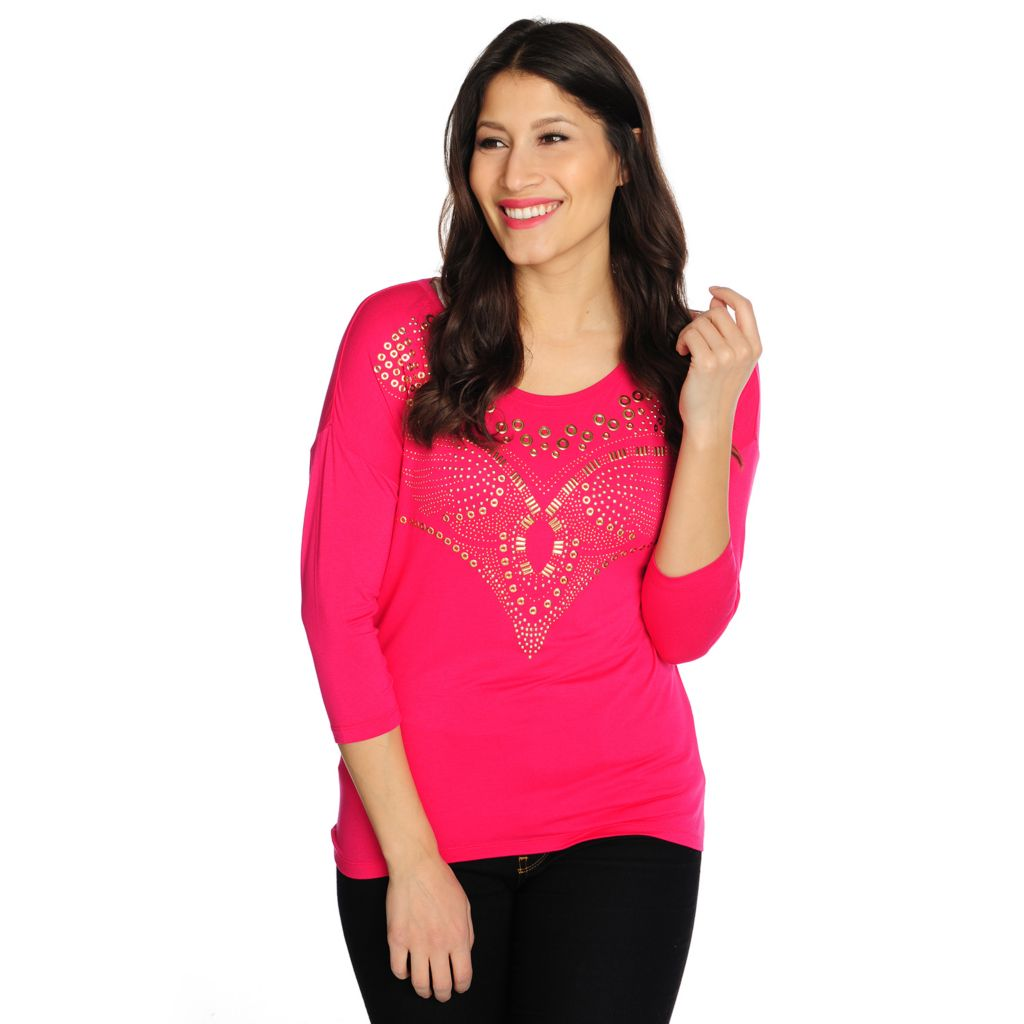715-457 - WD.NY Stretch Knit Drop Shoulder Embellished Hi-Lo Top