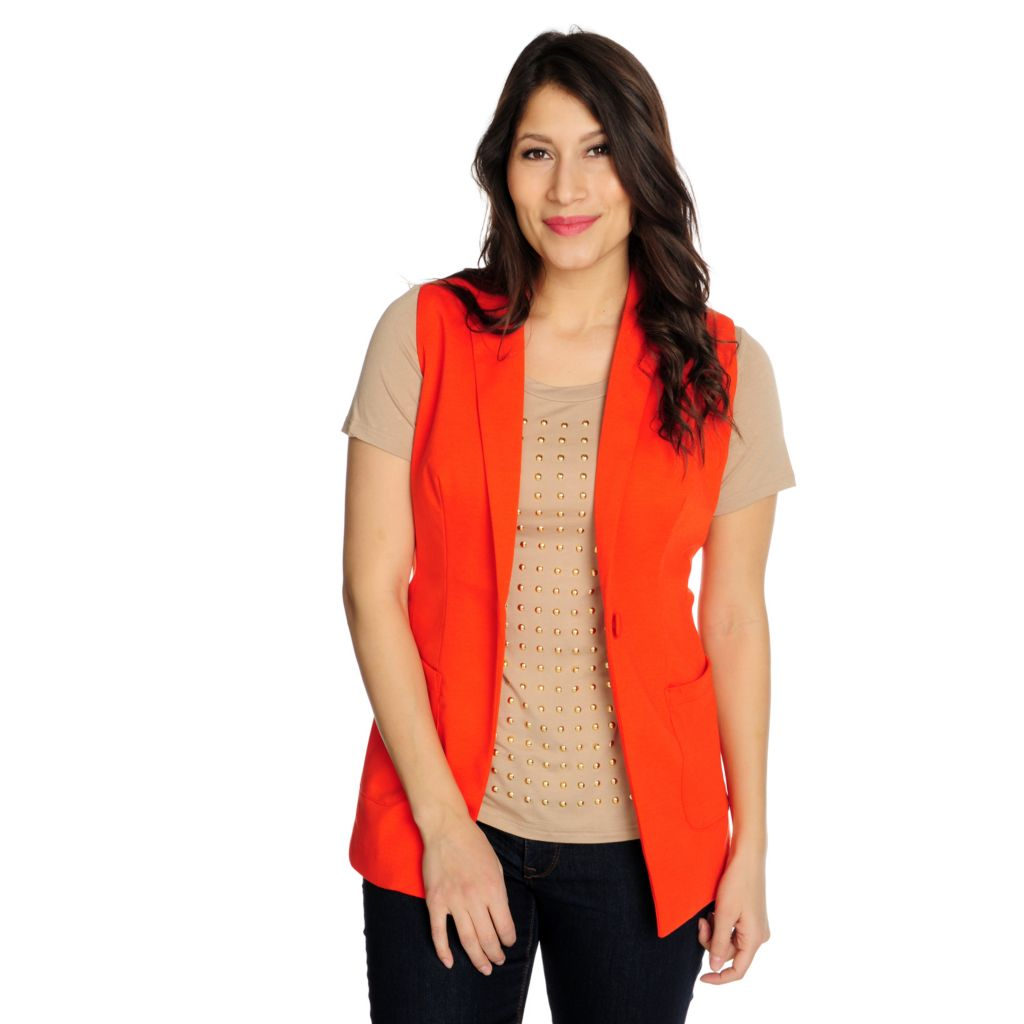 715-461 - WD.NY Ponte Knit Sleeveless Two-Pocket One-Button Vest