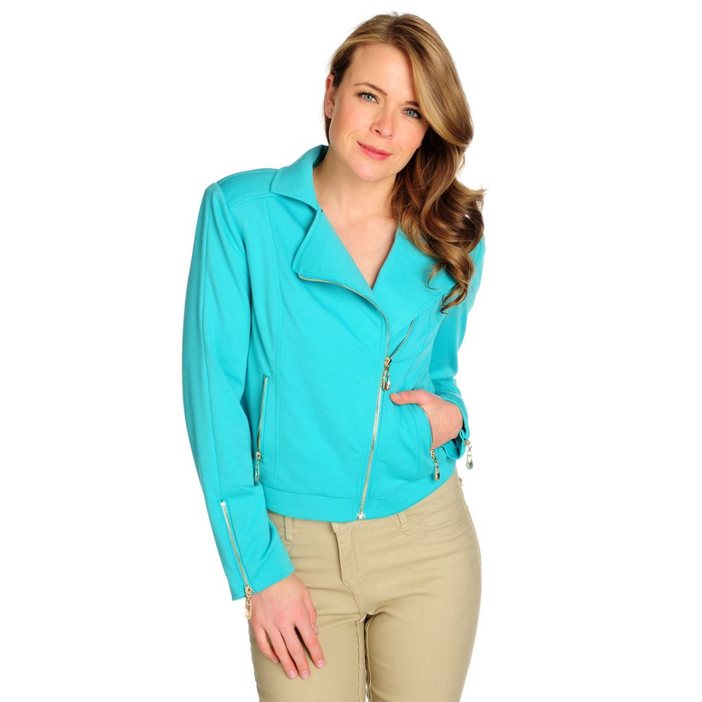 715-465 - WD.NY Ponte Knit Long Sleeved Two-Pocket Moto Jacket