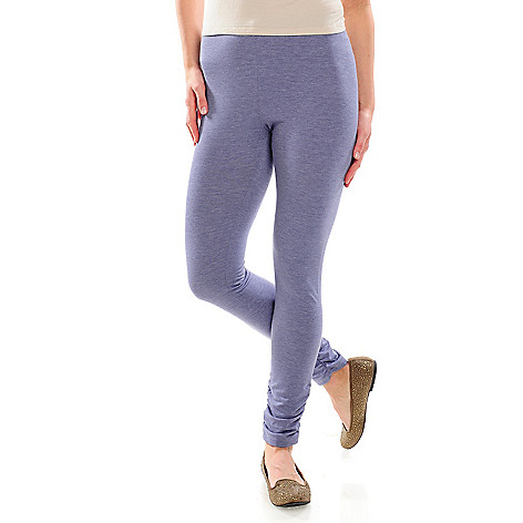 715-469 - One World Stretch Knit Ankle Length Ruched Detail Heathered Leggings