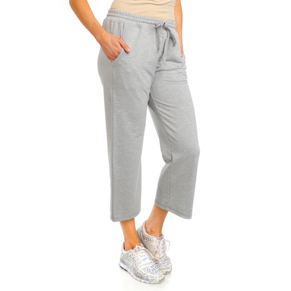 715-471 - One World French Terry Drawstring Waist Two-Pocket Cropped Pants
