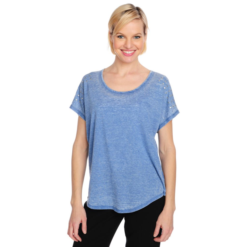 715-473 - One World Stretch Knit Dolman Sleeved Studded Detail Burnout Tee