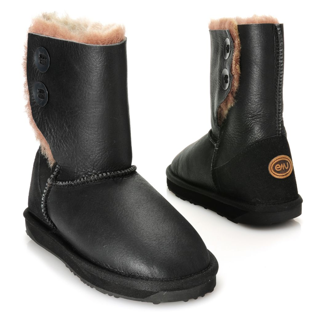 715-474 - EMU® Coated Sheepskin Side Button Detailed Mid-Height Boots