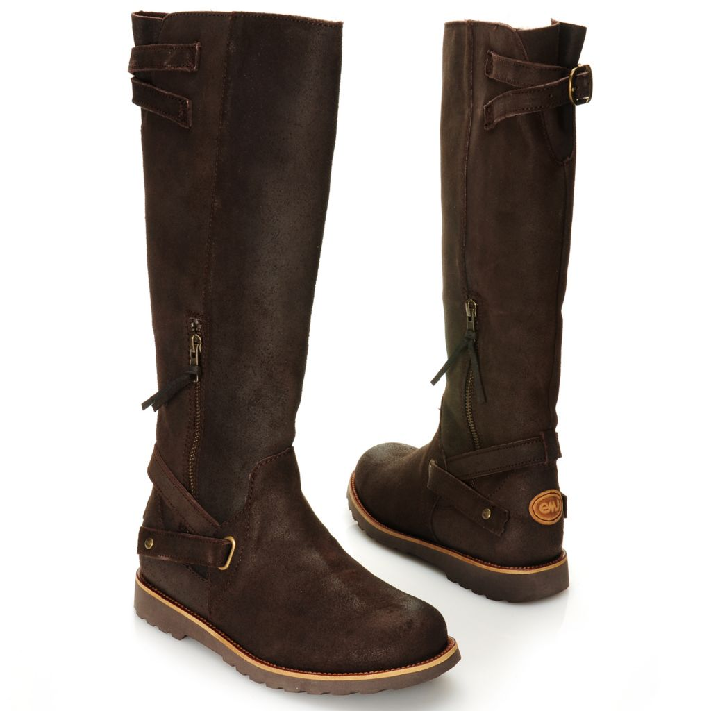 715-476 - EMU® Waxed Leather & Sheepskin Zigzag Strap Detailed Tall Boots