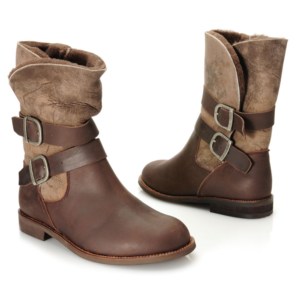 715-477 - EMU® Sheepskin & Leather Double Belted & Buckled Biker-Style Boots