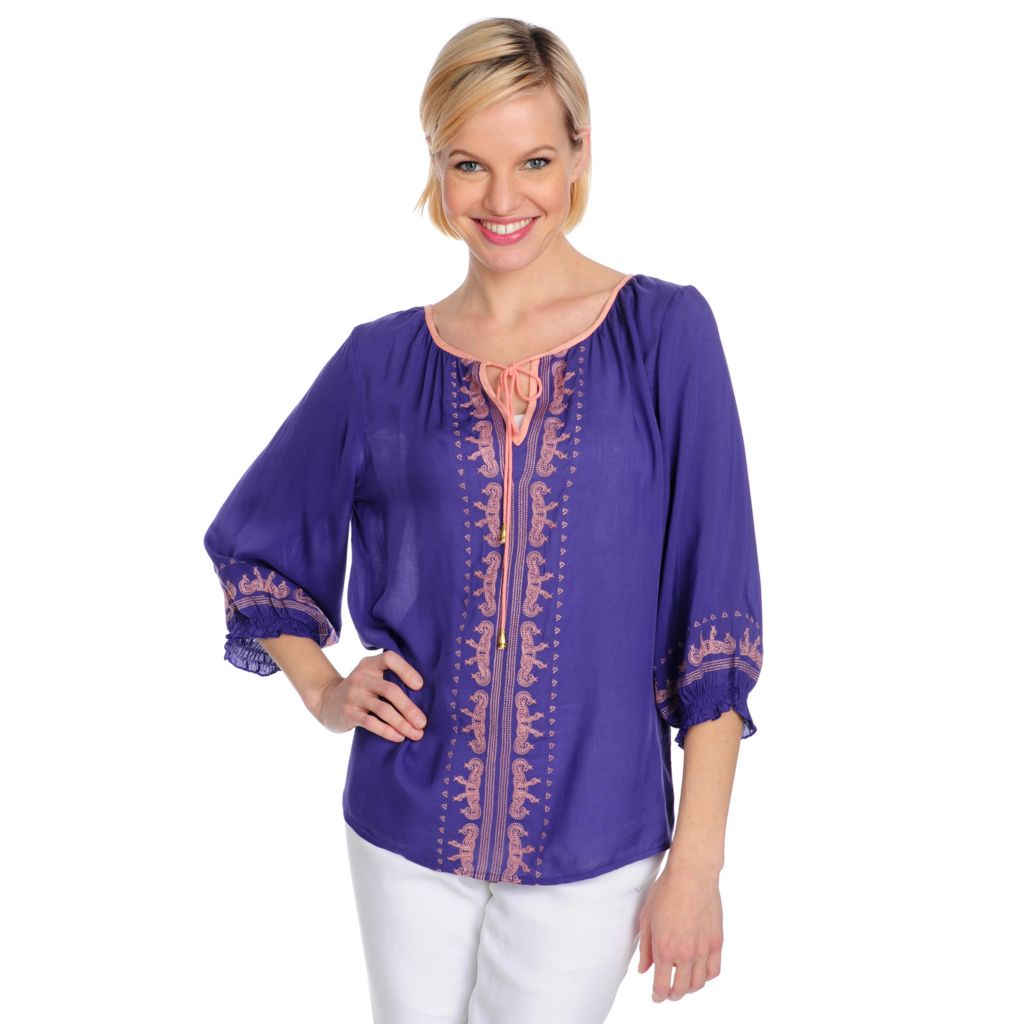 715-483 - One World Challis Blouson Sleeved Tie-Neck Embroidered Top