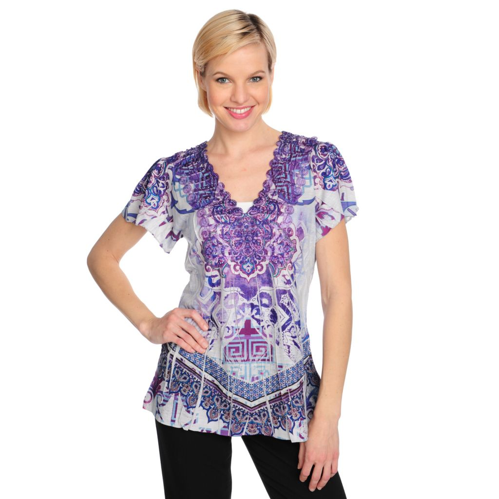 715-484 - One World Printed Knit Flutter Sleeved Lace V-Neck Embellished Top