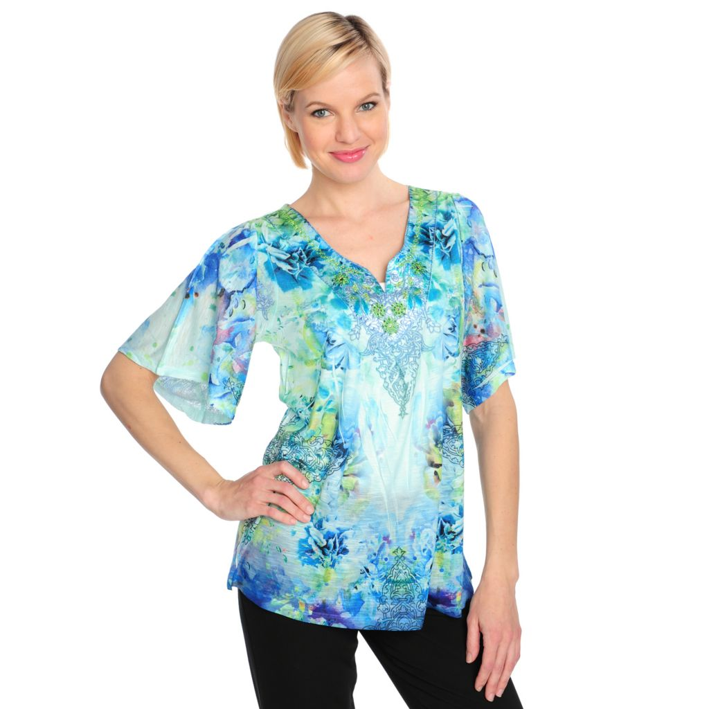715-486 - One World Slub Knit Elbow Sleeved Satin Embroidered Embellished Top