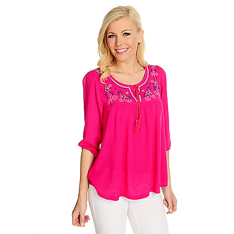 715-487 - One World Crinkle Woven 3/4 Sleeve Embroidered Peasant Top