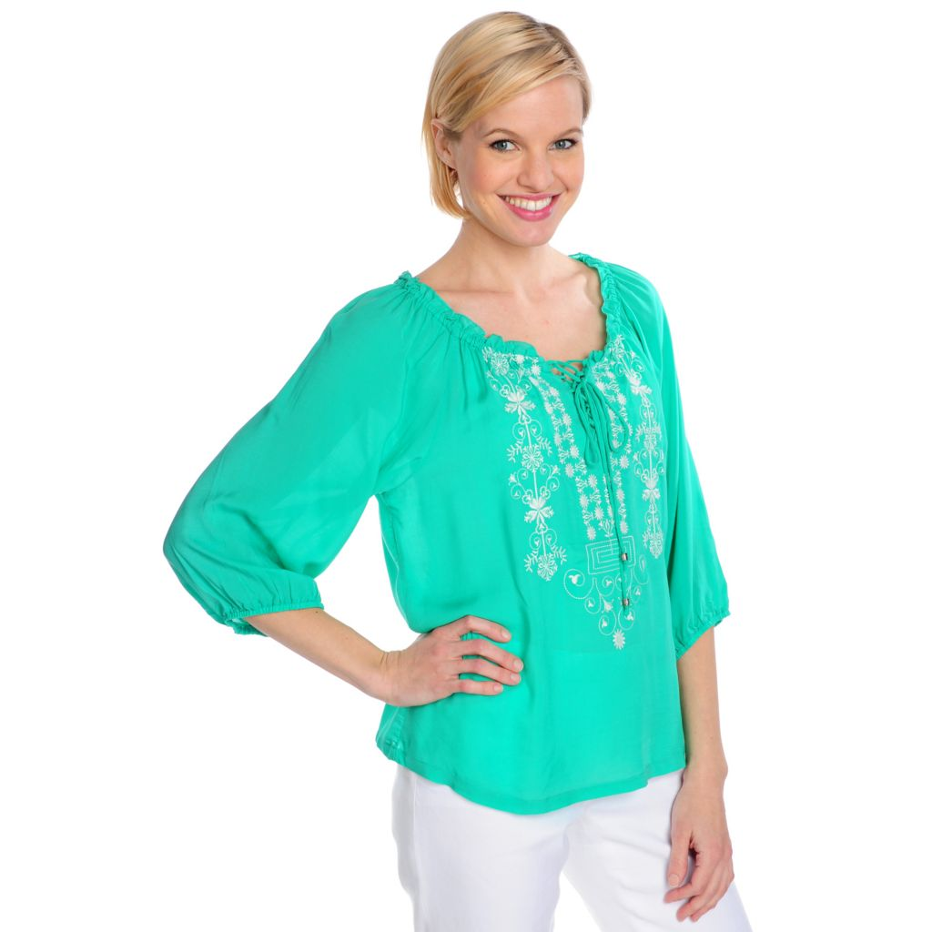 715-488 - One World Woven Blouson Sleeved Embroidered Tie-Front Top